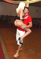 amazing super hot fucking mini skirt blonde fucked hard on the dance floor by her dance instructor hot fuck cumfaced pics