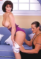 Plump mature woman with big naturals toying her pussy