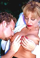 Sexual insatiable busty married woman takes it up her ass