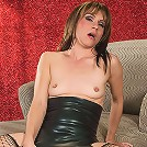 Milf in sexy red lingerie seduces a much younger dude