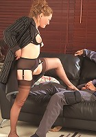 Sexy busty milf gets fucked hard on the sofa