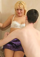 Sex with chubby blonde mature