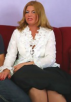 Busty blonde mommy deals with a fat young shlong