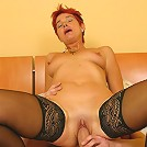 Red-haired mum lets young rod into her tight chute