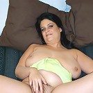 Hot mommy with saggy boobs riding huge rubber rod