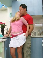 Luscious blonde housewife fucking in her kitchen
