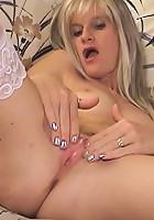 Blonde milf takes two foot long dildo
