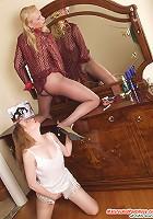 Leonora&Madeleine pantyhosefucking lovely mature housewife