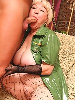 Blonde granny gets her pussy pumped with dick