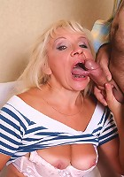 Blonde mature Renee caught masturbating and then ended up riding a huge cock on the sofa
