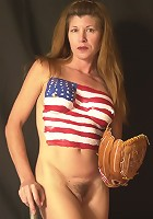 Sporty-Look Mature Posing and Stripping with Baseball Bat