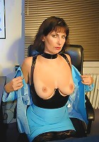 Mature Slut Stripping and Masturbating in the Office