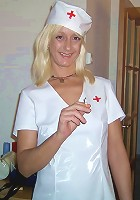 Mature Azucena blonde posing in her nurse uniform and taking good care of her patients cock