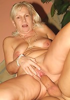 Top heavy mature blonde Remy shows off her perky breasts while a hunk screws her cunt