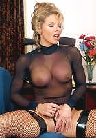 Sexy blonde wearing a see through top showing off her ass and dripping wet muff live