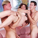 Smooth brunette matured whore enjoys wild threesome orgy session
