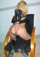 Blonde MILF licking a dildo before ramming it up her ass!