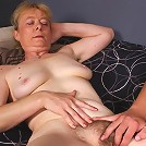 Experienced older babe Maria wraps her mouth around a thick wang and gets her hairy snatch probed