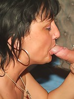 Marsha and Agnes are sexy older women taking turns in licking off fresh cum from a stiff cock