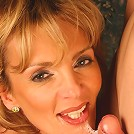 Horny mature Jennifer swallowing a huge cock before taking it in her experienced twat