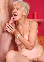 Sexy mature babe Irene gives off a toothless blowjob and dishes out her vintage snatch