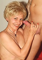 Hot older women Ritta and Rosalie take turns slurping a cock and dishing out their muffs