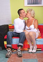 Horny mature Francesca enjoys a thorough pussy licking before she gets screwed by a younger guy