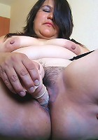 This hairy mature slut loves to play with herself