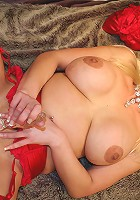 Hot European MILF getting horny on bed