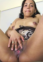 Shaved housewife playing with her toy