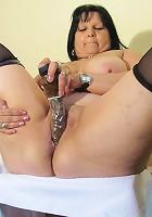 Chubby mamasita getting wild on rubber cock
