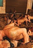 A very special mature sexparty with one dude and seven ladies