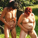 Five naughty mature lesbians go at it outdoors