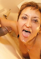 This hairy mature slut loves to get some cock