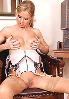 Horny secretary exposes her mature body in the nude