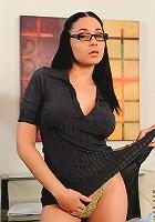 Alluring Anilos secretary wearing glasses masturbates with a magic wand