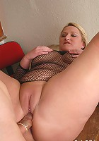 Big boobs mature Libby sucks on boner and fucked over a desk