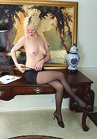 Mature office chick getting excited by us watching her undress