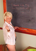 Mature blonde Sally T from AllOver30 prepares for her first lesson
