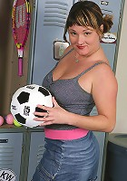 30 year old soccer mom strips off her clothes after playing on the field