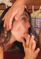 Mature brunette sucks and fucks a rock hard cock in this one