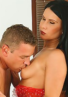 Alena takes this young studs cock deep into her mature box