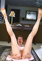 30 year old redheaded Vada from AllOver30 spreads her legs wide