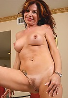 Tight bodied mature Jacqueline strips and spreads for us