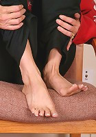 Blonde MILF plays with her feet and her pussy just for us