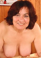 63 year old Hannah showing off her hairy aged pussy