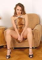 Beautiful housewife Mija spreading her long legs revealing heaven
