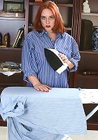 Busty redheaded housewife take time out from her ironing in here