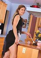 Delilah from AllOver30 shows off her mature pussy in the kitchen