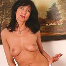 40 year old tight bodied brunette in tight denim strips